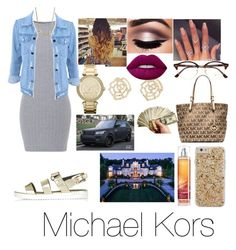 """""""✨💵"""" by jazzy0725 ❤ liked on Polyvore featuring Michael Kors, Topshop, Charlotte Russe, Case-Mate, Lime Crime and Ray-Ban"""