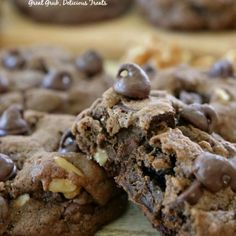 Chocolate Chocolate Chip Cookies – Great Grub, Delicious Treats Chocolate Chocolate Chip Cookies are thick, soft and chewy, loaded with chocolate chips, chocolate chunks and walnuts. Caramel Chocolate Chip Cookies, Semi Sweet Chocolate Chips, Chocolate Recipes, Chocolate Chocolate, Delicious Chocolate, Decadent Chocolate, Chocolate Lovers, Delicious Cookie Recipes, Yummy Cookies