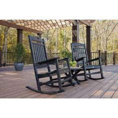 Yacht Club Charcoal Black 3-piece Patio Rocker Set
