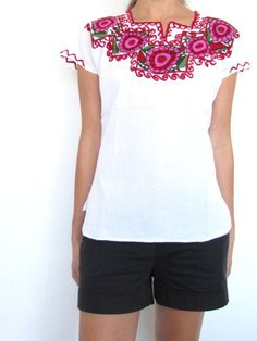 Traditional Mexican blouse embroidered red flowers made in Chiapas, Mexico