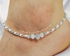 Handmade Swarovski Crystal Beaded Anklets and by ABeadApartJewelry Sterling Silver Anklet, Silver Anklets, Ankle Jewelry, Beach Anklets, Beach Bracelets, Anklet Bracelet, Swarovski Crystal Beads, Metal Beads, Bracelet Making