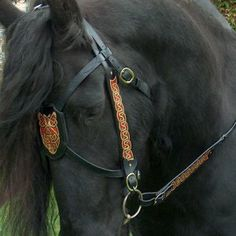 Medieval bridle - design and leatherwork by QCV - colorful celtic ornaments / decorations made by client