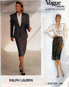 Vogue American Designer 1304 ca. Ralph Lauren Misses' Jacket, Skirt, Blouse Vogue Sewing Patterns, Vintage Sewing Patterns, Retro Fashion, Vintage Fashion, 1980s Design, Party Gowns, Fashion Plates, Vintage Ladies, Ralph Lauren