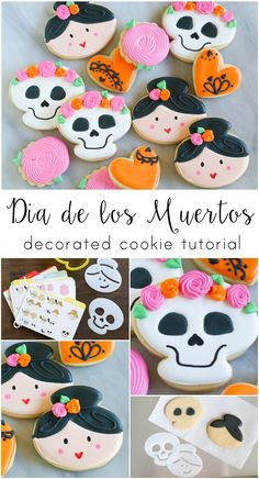 Dia de los Muertos Decorated Cookies with help from Sweet SugarBelle - Bake at Halloween Cookies Decorated, Halloween Sugar Cookies, Halloween Treats, Halloween Fun, Halloween Recipe, Biscuits Halloween, All Souls Day, Cookie Designs, Cookie Ideas