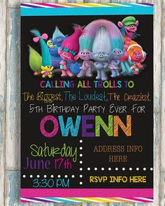 4X6 Trolls The Biggest Loudest Craziest Birthday Party Ever
