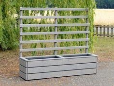 Pflanzkasten Holz mit Rankgitter / Spalier, Länge 212 cm, Höhe 180 cm, Farbe: Transparent Geölt Grau