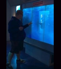 When this brave man stepped up and touched a museum display screen in Washington, D.C., he had no idea that a shark would soon head his way! The image of a char