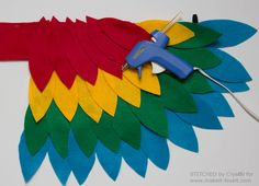 A tutorial to sew an easy parrot costume, perfect for Halloween or dress up!