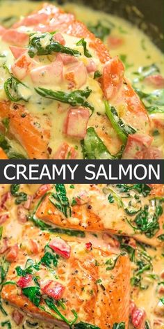 I am so excited to share this deliciousness with you, guys! Its really, really, really TASTY. The best part is that this Salmon in Roasted Pepper Sauce doesnt require any fancy ingredients and wont take much of your time. Cooktoria for more deliciousness! Salmon Dinner, Fish Dinner, Seafood Dinner, Keto Dinner, Seafood Meals, Seafood Appetizers, Baked Salmon Recipes, Chicken Recipes, Oven Baked Salmon