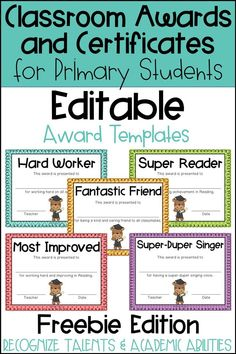FREEBIE! These end of the year awards are perfect to recognize your students for their unique talents and abilities! These awards are EDITABLE and feature various backgrounds. Perfect for Primary Students and Elementary Students in Kindergarten, First Grade, Second Grade, Third Grade, Fourth Grade, or Fifth Grade! BACK TO SCHOOL IDEA - Use these awards year round for positive reinforcement as a good behavior incentive or for rewarding individual student academic accomplishments and achievements.