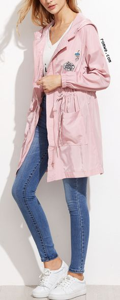Pink Letter Print Drawstring Hooded Trench Coat