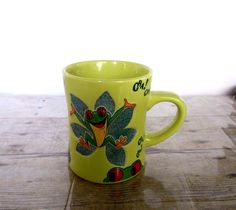 Details About Rainforest Cafe Coffee Mug 3D Frog And Painted Stone Flower Design  Bright Green