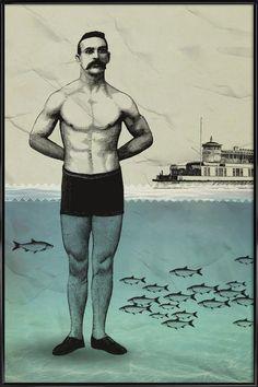 Beachboy en Affiche sous cadre standard par Amy & Kurt   JUNIQE