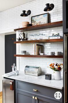 38 Best DIY Floating Shelves for Modern Kitchen On home west you can also locate an outstanding design for corner shelves. Width The form of pure wood floating shelves you opt to buy will be dependent on what you're likely to put on them. Floating Shelf Decor, Floating Shelves Kitchen, Wooden Floating Shelves, Wooden Shelves Kitchen, Kitchen Redo, Kitchen Design, Kitchen Cabinets, Kitchen Ideas, Cupboards
