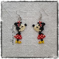 Mini Minnie..  #minniemousr #brickstitch #beadedearrings #handmade