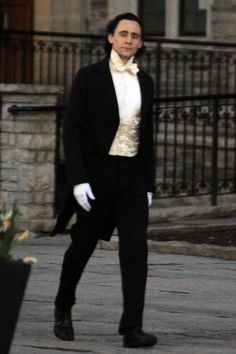 """Tom Hiddleston is all Smiles wearing a Tuxedo on set of """"Crimson Peak"""" in Toronto, Canada on April 23, 2014 [HQ]"""