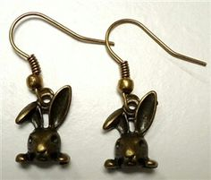 Bronze rabbit earrings