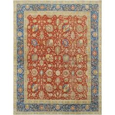 Noori Rug Aygun Rust/Blue Distressed Overdyed Rug (9'5 x 12'8) - Free Shipping Today - Overstock.com - 22297598