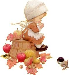 Ruth Morehead praying fall girl with chickadee Thanksgiving Wallpaper, Thanksgiving Greetings, Vintage Thanksgiving, Thanksgiving Crafts, Thanksgiving Decorations, Thanksgiving Pictures, Fall Drawings, Autumn Illustration, Holly Hobbie