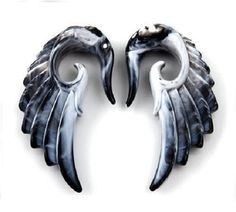Angel Wing Tapers With Black And White Marble Pattern Acrylic Material (1 Pair)