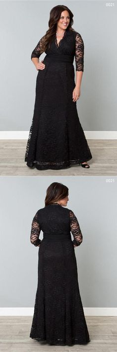 Plus Size V Neck Lace Long Mother of the Bride Dresses With Sleeves