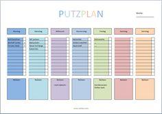 putzplan vorlage kinder haushalt pinterest. Black Bedroom Furniture Sets. Home Design Ideas