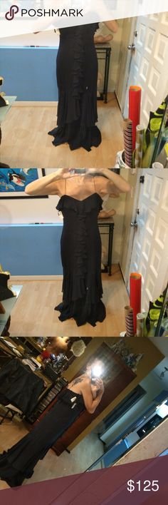 NWT Neimens Long Black Gown Lost weight before I could ever wear this amazing spaghetti strap front ruffle gown.  Gorgeous dress.  Make offer. Neimens Dresses Maxi