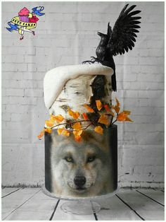 Winter Cake Wolf Crow Birch, airbrushed and hand painted, art, edible paper leaves, fondant modeling