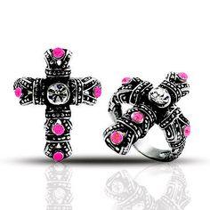 #Stainless Steel #cross #rings #gifts #metalhead #rockergirl $27 www.metalangelfashion.com