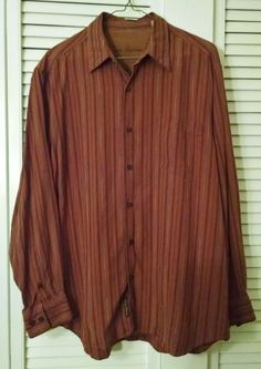 Tommy Bahama Mens 100% Silk Long Sleeve Shirt Button Front Brown Stripes Large #TommyBahama #ButtonFront #Silk #Mensshirts #PinStripes #ForSale #Shopping #eBay #etsy #Hawaiian #Menswear #LoveIt #SoNice #BuyitNow