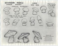 auction.howardlowery.com: 2 Disney FANTASIA Animation Model Sheets MUSHROOM + RUSSIAN DANCERS of Nutcracker Suite, 1940s