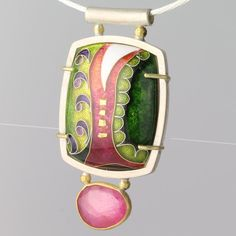 Pink Cloisonne Pendant Sterling Silver Green Enamel Texture Pattern 'Ruby River'