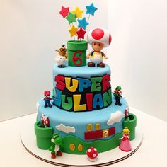 Super Mario Cake Mario Birthday Cake, Super Mario Birthday, Super Mario Party, 5th Birthday, Bolo Do Mario, Bolo Super Mario, Fondant Cakes, Cupcake Cakes, Mario Bros Cake