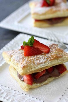 Strawberry & Cream Cheese Napoleon...Awesome flavors, easy prep. | cookincanuck.com #dessert