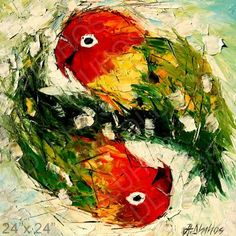 Love Birds Color Parrots 69 Palette Knife Original Art Oil Painting Andre Dluhos | eBay