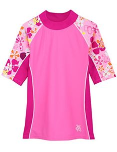 Keep your youngster protected from the sun's intensity courtesy of this colorful rashguard designed with four-way stretch that ensures playtime-spanning comfort. Swimming Outfit, Girls Swimming, Conservative Swimsuit, Skinny Sides, Rash Guard, Short Girls, Seaside, Pink, Floral