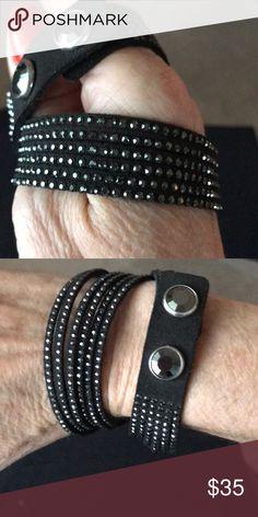 Slake Swarovski wrap bracelet Slake Swarovski wrap bracelet black leather Swarovski Jewelry Bracelets