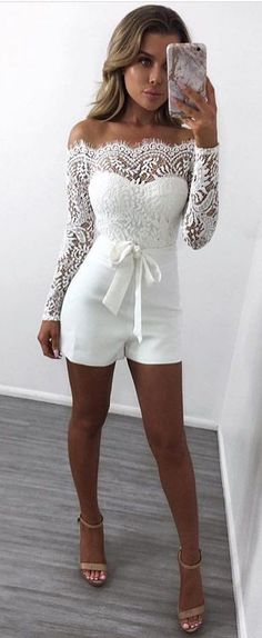 White Crochet Off The Shoulder Romper  #FashionTrend #WhiteDress #FashionStyle #Outfit #Fall #Blouse