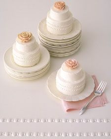 51 Bridal Shower Desserts from Martha Stewart Weddings Individual Wedding Cakes, Mini Wedding Cakes, Wedding Cake Roses, Individual Cakes, Floral Wedding Cakes, Unique Wedding Cakes, Mini Cakes, Cupcake Cakes, Rose Wedding