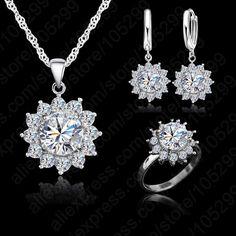 Nieuwe Mode Bloem Zon Zirconia Nieuwste Echt 925 Sterling Zilveren Sieraden Sets Oorbellen Hanger Ketting Ringen Size6-9
