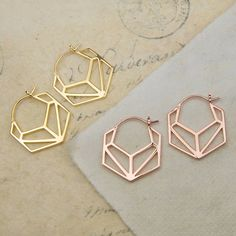 Geometric Hexagonal Rose Gold Hoop Earrings
