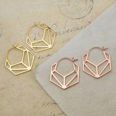 Geometric Hexagonal Rose Gold Hoop Earrings
