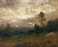 Alexander Helwig Wyant, American Tonalist, Sketch, Clearing Up, 14 x 17, oil on canvas