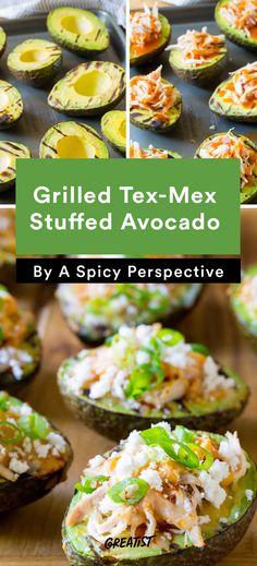 10. Grilled Tex-Mex Stuffed Avocado #healthy #recipe #stuffedavocado #avocado https://greatist.com/eat/stuffed-avocado-recipes