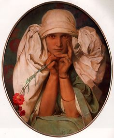 "Alphonse Mucha ""Jaroslava"" 1920, I love the look of the knotted up fabric"