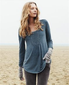 Poetry - Pintucked Jersey Tunic - This pretty pin-tucked tunic is in a cool and comfortable garment-dyed hemp and cotton mix that has a lovely marled appearance. With full length sleeves and a curved hemline for an easy A-line fit.