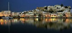 Naxos harbour by night GREECE