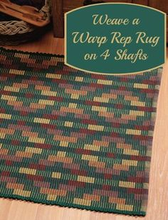 Free 4-shaft rug weaving pattern! This free eBook has 3 4-shaft rug projects to…