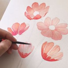 Korean Artist Uploads Step By Step Tutorials On How To Draw Beautiful Flowers If you've ever dreamed of becoming a world-class artist, an illustrator or simply wanted to improve your drawing skills, then you're in luck. Watercolor Flowers Tutorial, Watercolour Tutorials, Flower Tutorial, Simple Watercolor Flowers, Flower Drawing Tutorial Step By Step, Step By Step Sketches, Step By Step Watercolor, Watercolor Projects, Watercolor Ideas