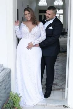 Reut | Studio Levana | Plus Size Wedding Dress | Long Sleeve Lace Wedding Dress | Plus Size Bride | All My Heart Bridal